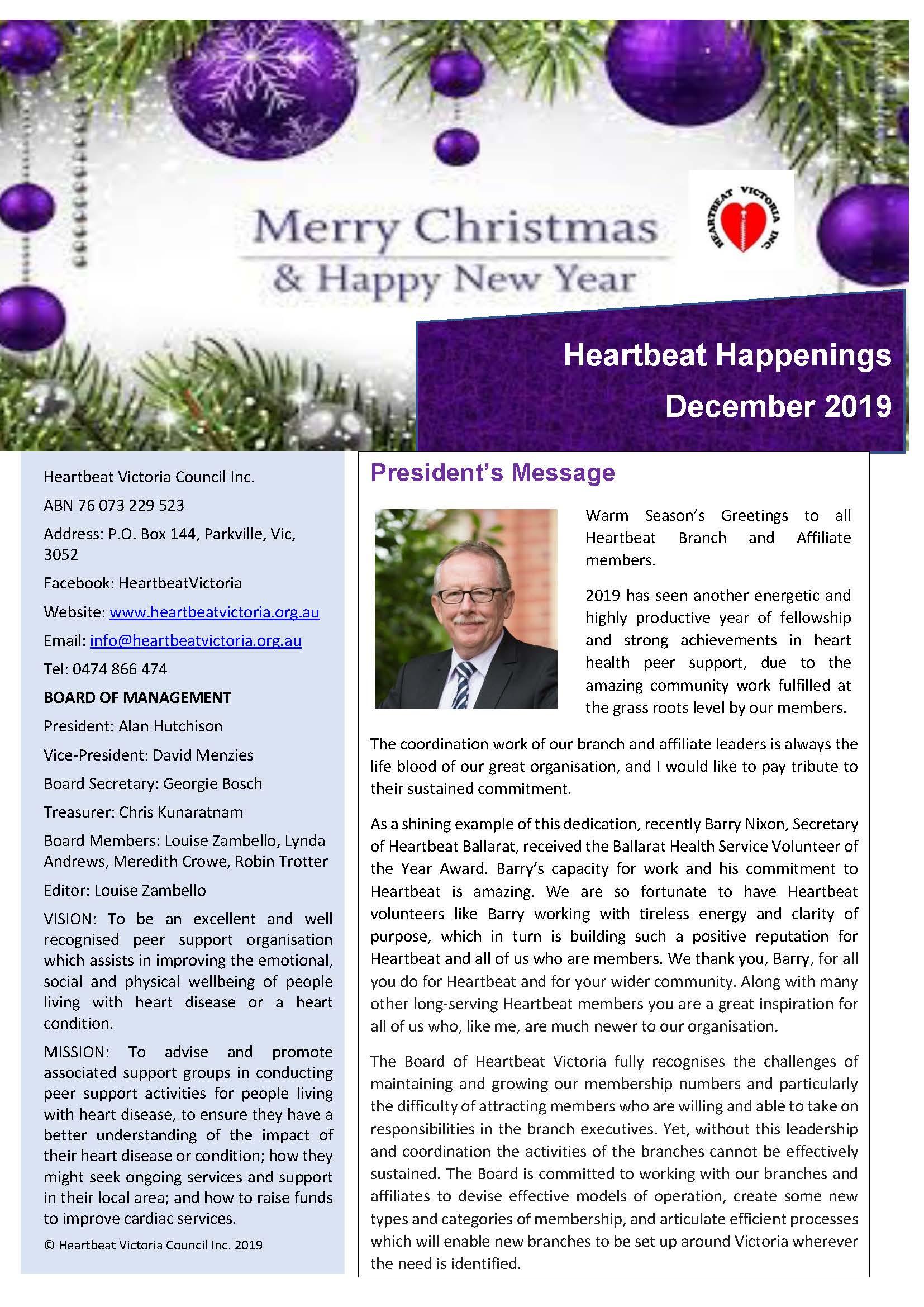 Heartbeat Happenings December 2019