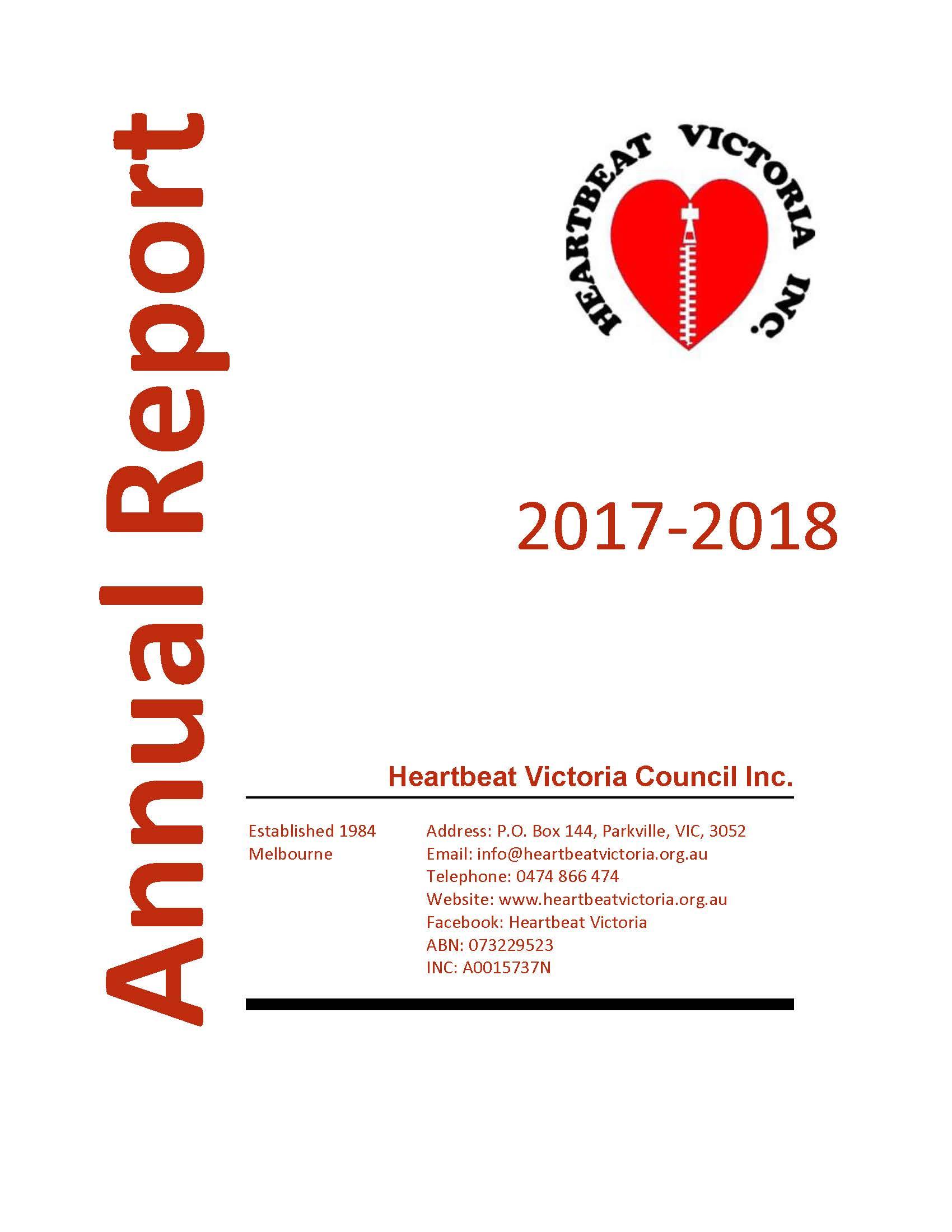 Heartbeat Victoria Council Annual Report 2017-2018